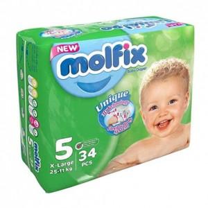 پوشک بچه مولفیکس سایز 5 (11 تا 25 کیلو گرم) 34عددی