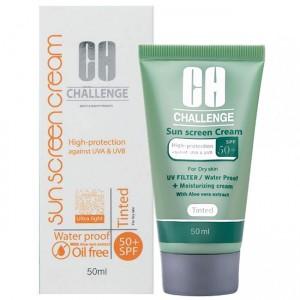 کرم ضد آفتاب + SPF50 چلنج مناسب پوست های خشک و نرمال حجم 50 میل