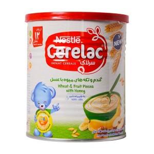 سرلاک گندم و تکه های میوه با عسل به همراه شیر نستله مناسب کودکان از ۱۲ ماهگی ۴۰۰ گرم