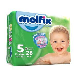 پوشک کودک مولفیکس 11تا 25کیلو سایز 5 بسته 28 عددی
