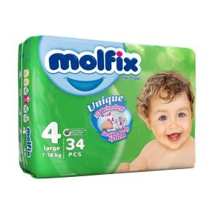 پوشک مولفیکس سایز 4 مخصوص کودکان 7 تا 18 کیلوگرم بسته 34 عددی